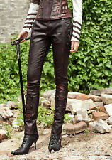 Trousers dark brown black steampunk leather synthetic with thongs RQ-BL