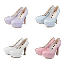 New Womens Round Toe Platforms Chunky Block High Heels Formal Wear to Work Shoes