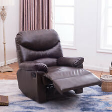 Padded Plush Recliner Living Room Reclining Chair TV Living Room, Black / Brown