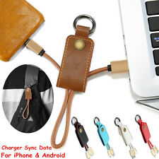 Leather PU key Ring Cord Charger Sync Micro USB Data Cable For iPhone & Android