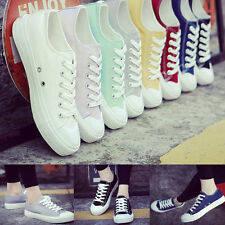 New Womens Low Top Canvas Shoes Lace Up Candy Color Sneakers Rubber Flat Shoes