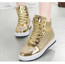 AU Womens Lace Up Sequins High-top Lace Up Sneakers Running Jogging Casual Shoes