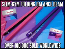 7FT GYMNASTICS GYM FOLDING BALANCE BEAM BY SLIM-GYM - PURPLE FAUX LEATHER