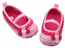 NEW Baby Girl Pink Ruffle Flower Mary Jane Crib Shoes 0-6 6-12 12-18 M
