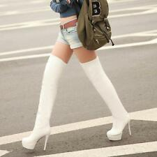 Fashion Womens PU Sexy Over knee Boots High Heels Stiletto Long Boot Shoes SIZE