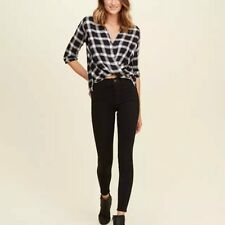 Women Plaid Checkered Shirts Loose Front Cross Blouses Stand Collar Long Sleeve