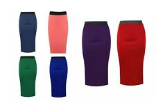 New Ladies Women PLAIN OFFICE WOMENS STRETCH BODYCON MIDI PENCIL SKIRT 8-26