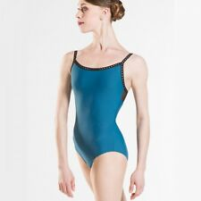 Ladies Black & Teal Wear Moi Roma Ballet Dance Leotard With Mesh Panel