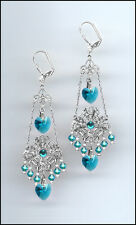 Shimmering Silver Earrings with Swarovski TEAL BLUE ZIRCON Crystal Hearts