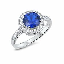 Blue Sapphire Brilliant Halo w/ Clear CZ Sterling Silver Wedding Engagement Ring