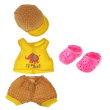 18'' Dolls Clothes Yellow Vest Top Shorts Cap Sandals Fit American Girl Doll