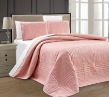 Twin XL Full Queen Cal King Bed Solid Pink 3 pc Quilt Set Coverlet Bedspread
