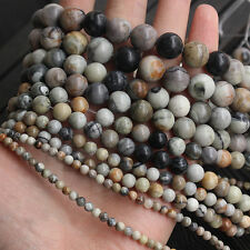 Natural Gray Picasso Jasper Gemstone Beads Smooth Round Beads 6mm 8mm 10mm 12mm
