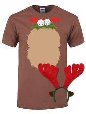 Xmas Novelty Mens Christmas Reindeer T-Shirt Costume With Antlers