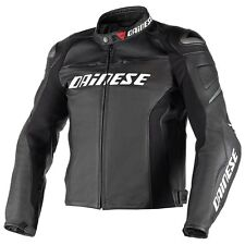 Dainese Racing D1 Mens Perforated Leather Motorcycle Jacket Black/Black