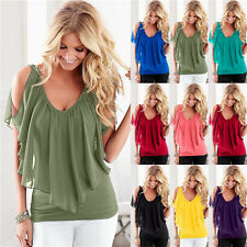 UK Womens Off Shoulder V Neck Chiffon T-Shirt Ladies Summer Casual Tops Blouse