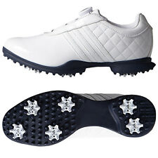 Adidas Womens Driver BOA Golf Shoes - New Ladies White Climaproof Leather Spiked