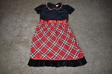 Hanna Andersson Girls Black Red Plaid Velour Dress Size 140 (10) 150 (12)