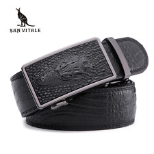 new men's belts for business man strap 100%cow real leather automatic ratchet