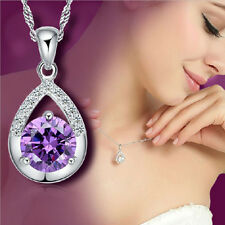 925 Silver Plated Women Necklace Elegent Clavicle Chain Crystal Pendant Jewelry