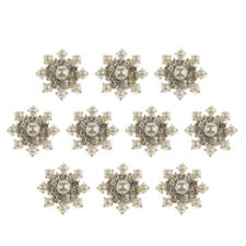 10x Crystal Rhinestone Snowflake Embellishment Flatback Buttons Jewelry Findings