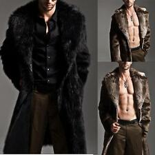 AU Mens Luxury Warm Long Outerwear Fur Trench Coat Parka Winter Jacket Greatcoat