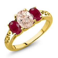 2.20 Ct Oval Peach Morganite Red Ruby 18K Yellow Gold Plated Silver Ring