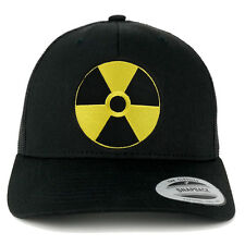 RADIATION Circular Black Yellow Embroidered Patch Mesh Back Trucker Cap