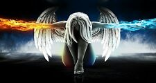 FANTASY ANGEL WINGS FIRE ICE WALL ART CANVAS PICTURE PRINT VARIOUS SIZES