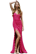 Seay Womens Nude Floral Lace Bridal Wedding Party Evening Gown Slit Strap Dress