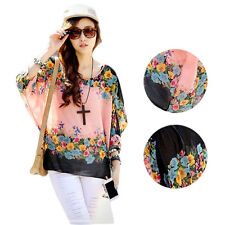 Round Neck Chiffon Loose  Blouse Stylish Lady Fashion Batwing Sleeve Sexy