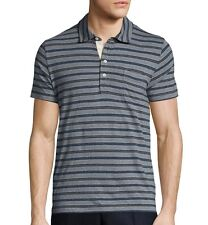Billy Reid Men's Short Sleeve Pensacola Striped Polo Ice Marine $95 msrp NWT