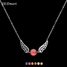 New Candy Color Pendant Women Crystal Bead Wing Necklace Angel Wings Jewelry