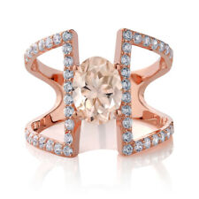 1.66 Ct Oval Peach Morganite 18K Rose Gold Plated Silver Ring