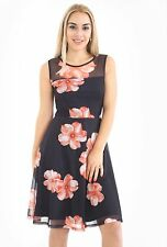 New Womens Ladies  Floral Printed Sleeveless Skater Dresses Sizes  UK 8-22