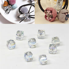 Glass 10Pcs Square Crystal DIY 4mm/6mm Faceted Loose Cube Spacer Beads