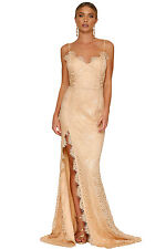 Sexy Nude Yum Lacy Lace Bridal Wedding Party Gown Maxi Formal 8 10 12 14 16