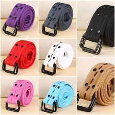 New Fashionable Double d-ring Canvas Belt Casual Waistband Plain Belt Buckle US