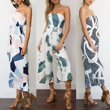 Lady Sexy Print Strapless Romper Backless Loose Long Pants Jumpsuit Sanwood