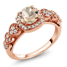 0.92 Ct Round Peach Morganite 18K Rose Gold Plated Silver Ring