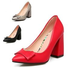 Womens Casual Platforms Slip On Formal Chunky High Heels Pump Office Work Shoes