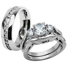 Hers & His Stainless Steel 3 Piece Cz Wedding Ring Set and Eternity Wedding Band