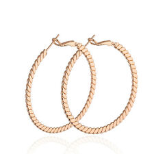 14K Rose Gold Filled/Silver P Twisted Rope Style Exquisite Hoop Earrings