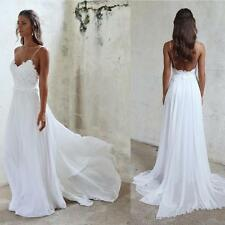 Sexy Spaghetti Straps Beach Wedding Dress Lace Chiffon White Ivory Bridal Gown