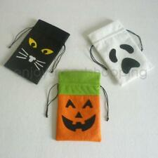 Funny Halloween Pumpkin White Ghost Black Cat Drawstring Candy Bags Party