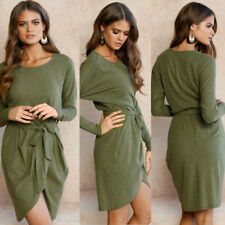 Women Long Sleeve Maxi Bandage Bodycon Casual Evening Party Cocktail  Mini Dress
