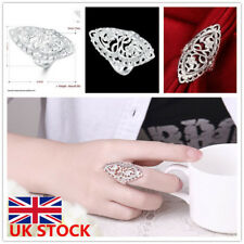 Womens Ladies Carved 925 Sterling Silver Plating Hollow Cut Out Big Ring Finger