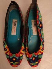 """BEVERLY FELDMAN """"FRANKIE and Baby"""" colorful beaded ballet flats women's size 7 B"""