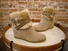 Marc Fisher Trevis Taupe Suede Faux Fur Wedge Ankle Boots NEW