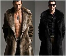 Mens Winter Warm Outerwear Overcoat Luxury Faux Fur Parka Coat Long Jacket S-5XL